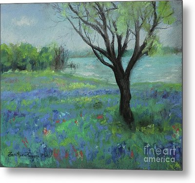 Metal Print featuring the painting Texas Bluebonnet Trail by Robin Maria Pedrero