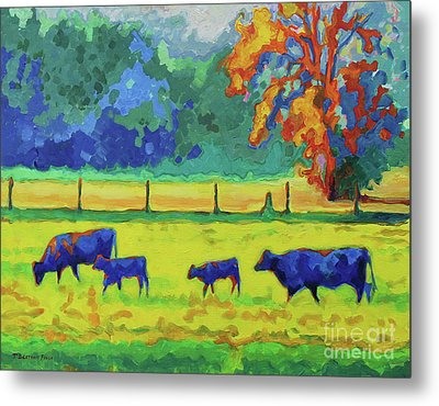 Texas Cows And Calves At Sunset Painting T Bertram Poole Metal Print by Thomas Bertram POOLE