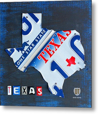 Texas License Plate Map Metal Print by Design Turnpike