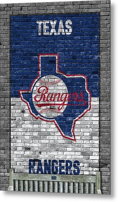 Texas Rangers Brick Wall Metal Print by Joe Hamilton