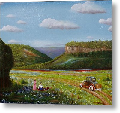 Metal Print featuring the painting Texas Travelers by Gene Gregory