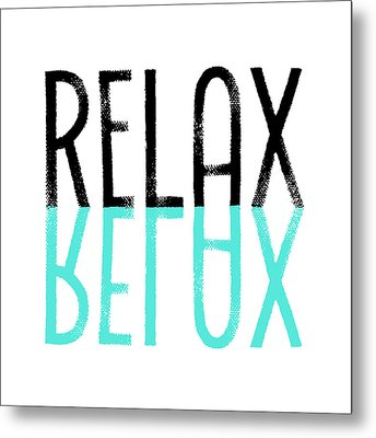 Text Art Relax - Cyan Metal Print