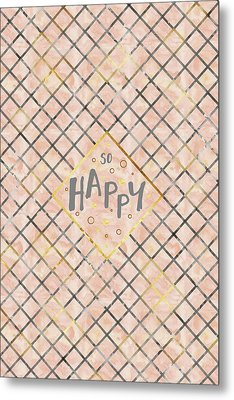 Text Art So Happy - Orange Metal Print
