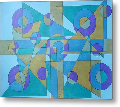 Metal Print featuring the drawing Textures In Blue  by Beth Akerman