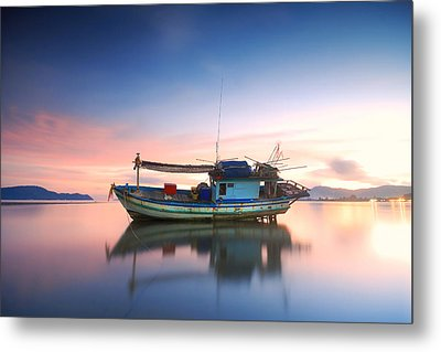 Thai Fishing Boat Metal Print by Teerapat Pattanasoponpong
