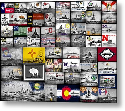 The 50 States And Their Battleships Metal Print by JC Findley