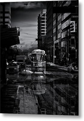Metal Print featuring the photograph The 512 St. Clair Streetcar Toronto Canada Reflection by Brian Carson