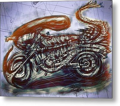 The Alien Bike Metal Print by Russell Pierce