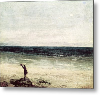 The Artist On The Seashore At Palavas Metal Print by Gustave Courbet