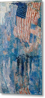 Metal Print featuring the painting The Avenue In The Rain - 1917 by Frederick Childe Hassam