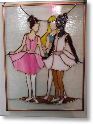 The Ballet Dancers In Stained Glass Metal Print by Arlene  Wright-Correll