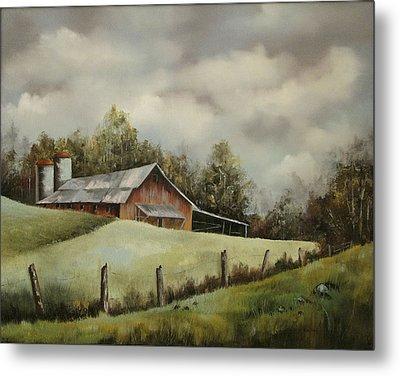 The Barn And The Sky Metal Print