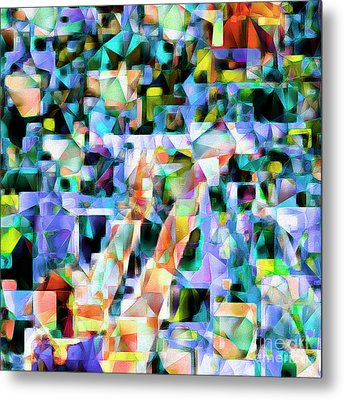 The Basketball Jump Shot In Abstract Cubism 20170328 Square Metal Print