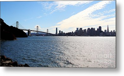 The Bay Bridge And The San Francisco Skyline Viewed From Treasure Island . 7d7771 Metal Print by Wingsdomain Art and Photography