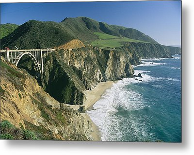 The Beach And Shoreline Along Highway 1 Metal Print by Phil Schermeister