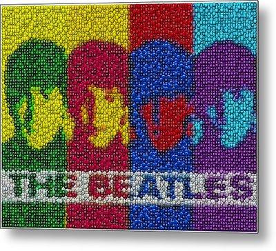 The Beatles Mm Candy Mosaic Metal Print by Paul Van Scott