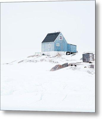 The Blue House At Oqaatsut Metal Print