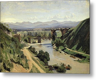 The Bridge Of Augustus Over The Nera Metal Print by Jean Baptiste Camille Corot