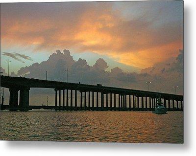 The Bridge To Galveston Metal Print by Robert Anschutz