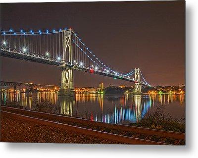 The Bridge With Blue Holiday Lights Metal Print