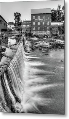 The Bridgeton Mill In Indiana - Est. 1823 - Black And White Metal Print by Gregory Ballos