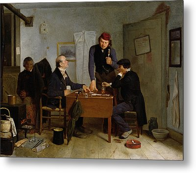 The Card Players Metal Print by  Richard Caton Woodville