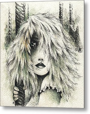 The Carousel Girl Metal Print by Rachel Christine Nowicki