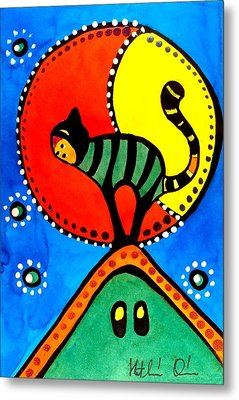 The Cat And The Moon - Cat Art By Dora Hathazi Mendes Metal Print