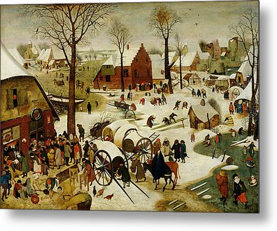 The Census At Bethlehem Metal Print by Pieter the Younger Brueghel