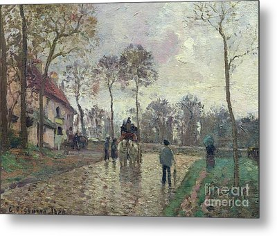 The Coach To Louveciennes Metal Print by Camille Pissarro