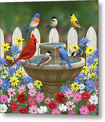 The Colors Of Spring - Bird Fountain In Flower Garden Metal Print by Crista Forest