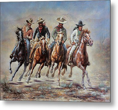 Metal Print featuring the painting The Cowboys by Harvie Brown