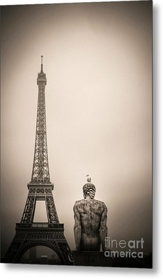 The Eiffel Tower And The L'homme The Man Statue By Pierre Traverse Paris. France. Europe. Metal Print