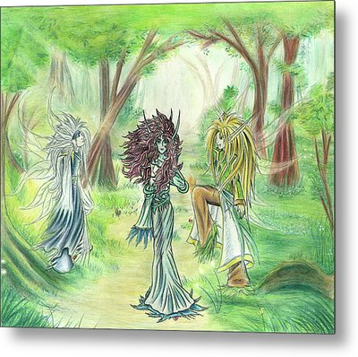 Metal Print featuring the painting The Fae - Sylvan Creatures Of The Forest by Shawn Dall