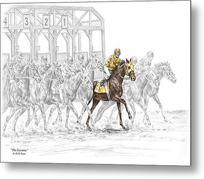 The Favorite - Thoroughbred Race Print Color Tinted Metal Print