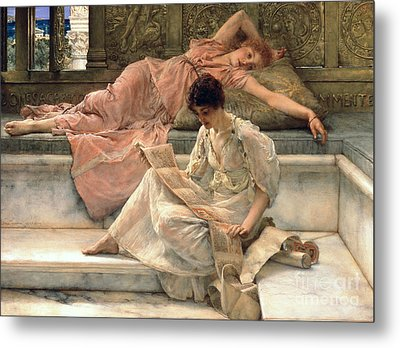The Favourite Poet Metal Print by Sir Lawrence Alma-Tadema