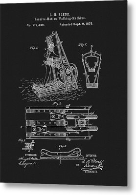 The First Treadmill Patent Metal Print