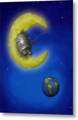 The Fishing Moon Metal Print by Michael Knight