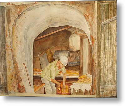 Metal Print featuring the painting The French Baker by Vicki  Housel