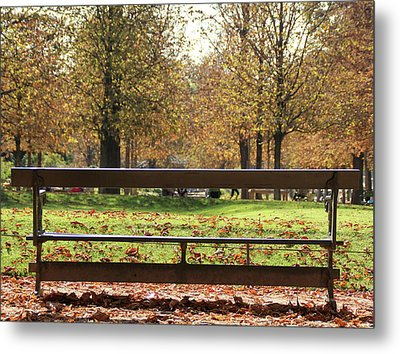 The French Bench And The Autumn Metal Print by Yoel Koskas