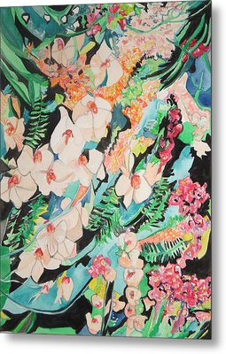 Metal Print featuring the painting The Gallery Of Orchids 2 by Esther Newman-Cohen