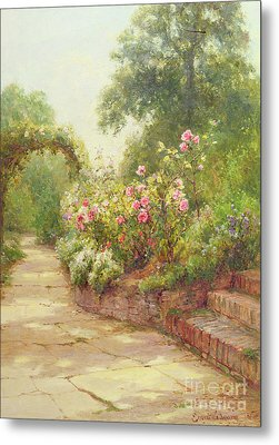 The Garden Steps   Metal Print by Ernest Walbourn