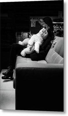 Metal Print featuring the photograph The Girl The Polar Bear And The Phone by John Williams