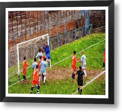 The Goalkeeper Saves A Goal Metal Print by John Vito Figorito