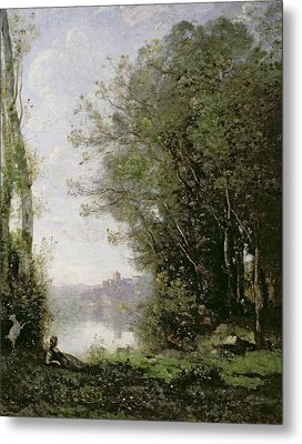 The Goatherd Beside The Water  Metal Print by Jean Baptiste Camille Corot