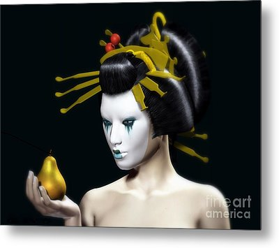 The Golden Pear Metal Print by Sandra Bauser Digital Art