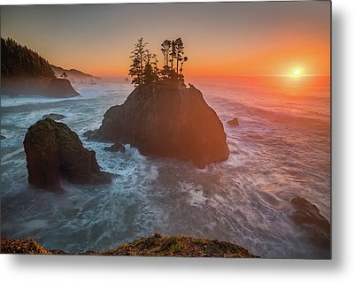 Metal Print featuring the photograph The Golden Sunset Of Oregon Coast by William Lee