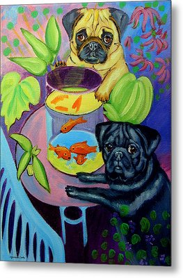 The Goldfish Bowl - Pug Metal Print by Lyn Cook