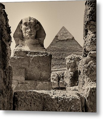 The Great Sphinx And Pyramid Of Khafre Metal Print by Nigel Fletcher-Jones