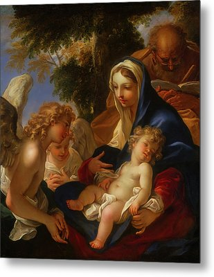 Metal Print featuring the painting The Holy Family With Angels by Seastiano Ricci